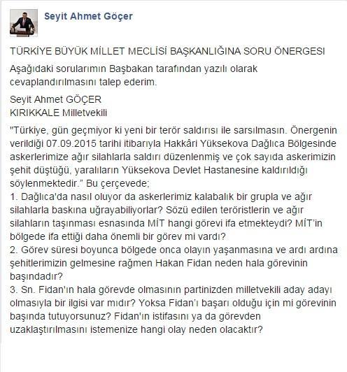 Göçer'den Başbakan'a üç soru (1)