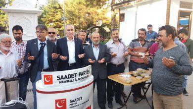 """Saadet Partisi Kırıkkale İl Başkanlığı ve Kadın Kolları Başkanlığı Muharrem Ayı dolayısıyla vatandaşlara """"aşure"""" ikram etti."""